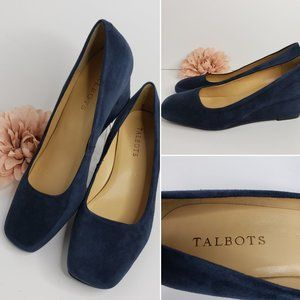 Talbots Women's Laney Blue Suede Wedges